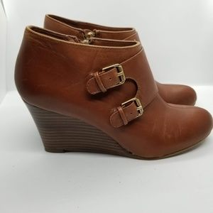 Anne Klein Tylor Brown Leather Ankle Booties 8M